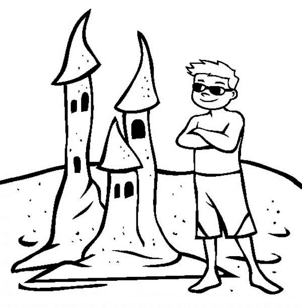A-Boy-Proud-of-His-Sand-Castle-Creation-Coloring-Page